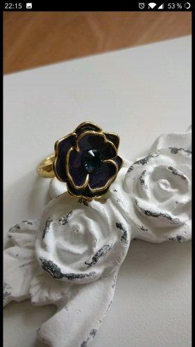 Süßer Ring von Pilgrim,Dunkelblau,Blüte,Gold