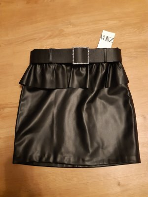 Zara Faux Leather Skirt black-silver-colored