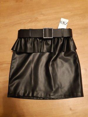 Zara Jupe en cuir synthétique noir-argenté