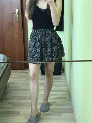 Mango Basics Spódnica z koła czarny-biały Wiskoza