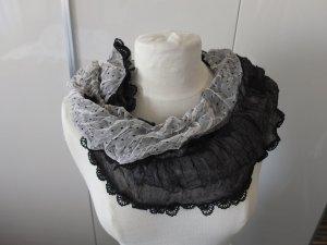 Süßer Schal von SENAS aus Seide Neu zweifarbig mit Spitze, Punkten Schwarz/Weiß
