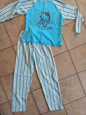 Pyjama wit-turkoois