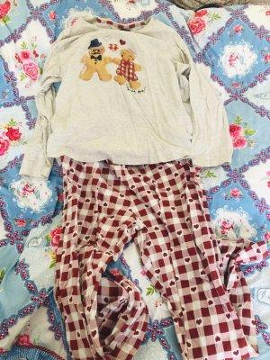 F&F Pyjama dark red-natural white cotton