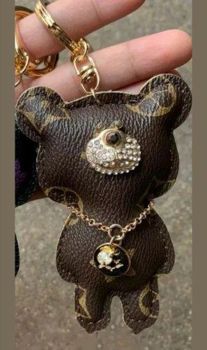 süßer Schlüssel - Taschenanhänger braun Bär mit Blumen NEU