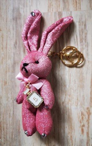 süßer Schlüssel-/Taschenanhänger glitzer Hase No 5, rosa aus Stoff NEU