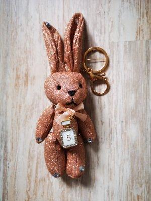 süßer Schlüssel-/Taschenanhänger glitzer Hase No 5, roségold Bunny