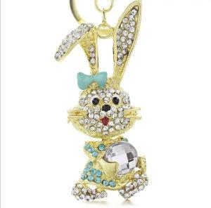 süßer Schlüssel-/ Taschenanhänger Hase mit blauer Schleife und Straß NEU