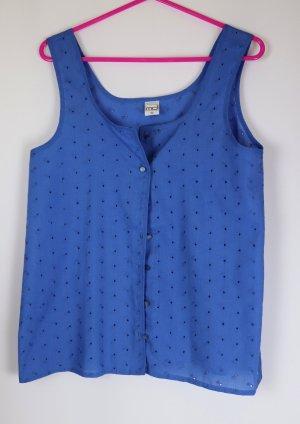 Süßes 80er Bluse Top Lochspitze MD Größe 36 38 Blau Royalblau Sommertop Hängerchen Blümchen Stickerei