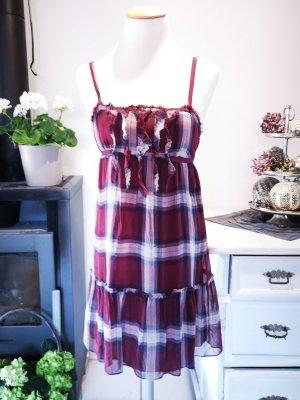 Süßes Abercrombie & Fitch Sommerkleid dunkelrot Gr S kariert Sommer Midikleid Midi Kleid