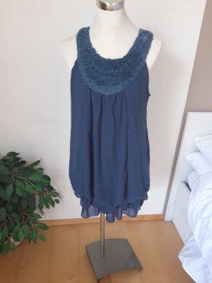 Robe ballon bleu acier