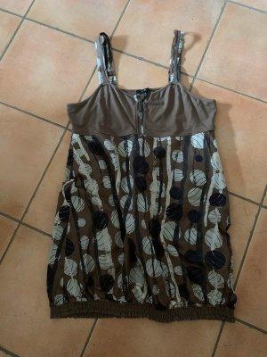 Yest Sukienka z rękawem balonowym jasnobrązowy-szary