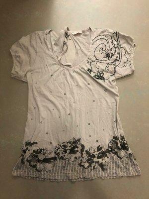 Miss Selfridge T-Shirt silver-colored-black cotton