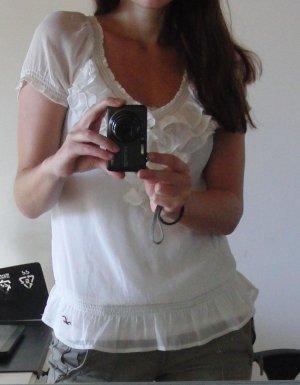 Süßes Blusenshirt von HOLLISTER - weiß - mit Rüschen - Gr. S