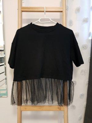 süßes crop shirt t-shirt gr 158 164 Gr s oversized mit tüll