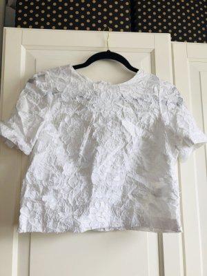H&M Cropped shirt wit Katoen