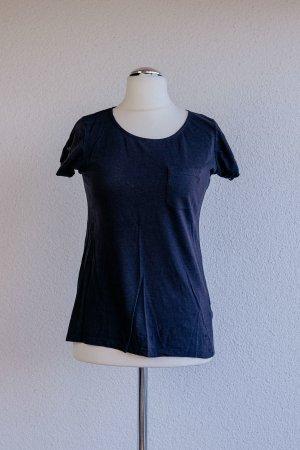 Süßes dunkelblaues T-Shirt mit tollen Details am Kragen & Reisverschluss am Rücken - Zero - Gr. M 38