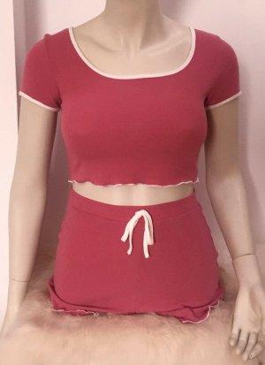 Piżama różowy Tkanina z mieszanych włókien