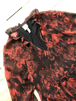 H&M Vestido babydoll negro-rojo ladrillo
