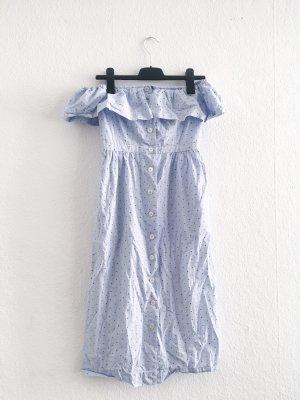 H&M Robe bandeau bleu azur-blanc