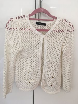 Hallhuber Cardigan en crochet beige clair-blanc coton