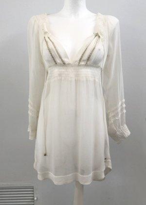 Sukienka tunika biały-jasnożółty Poliester