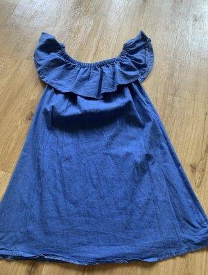 0039 Italy Robe trapèze bleu coton