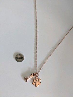 Süßes Kettchen mit Pfote und Knochen 925 Silber mit Rosevergoldung
