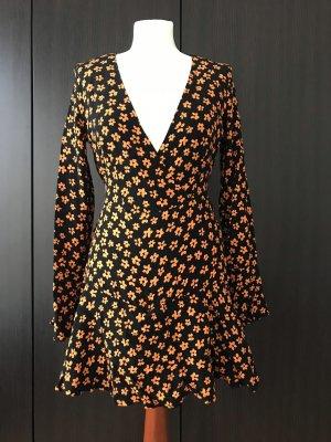 Bershka Mini Abito nero-arancione