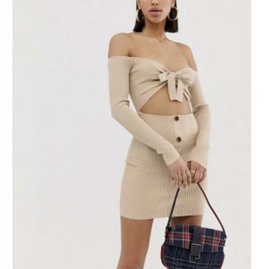 Missguided Cut Out Dress beige