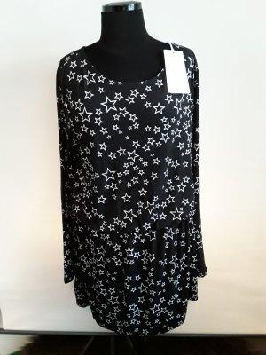 Juvia Vestido estilo camisa negro-blanco Viscosa