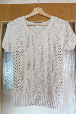 Short Sleeve Knitted Jacket oatmeal-sand brown cotton