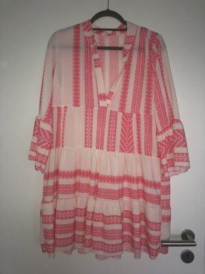 Sukienka tunika różowy-biały