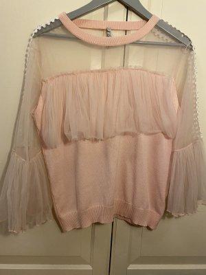 Lamer & Co Ruche blouse rosé-wit