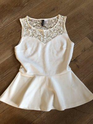 H&M Peplum Top white-natural white