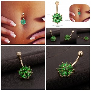 Gold Earring gold-colored-green