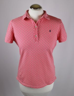 Marc O'Polo Polo shirt wit-magenta Gemengd weefsel