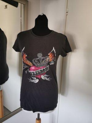 Süßes Printshirt mit Glitzermotiv Gr. L Anthrazitfarben