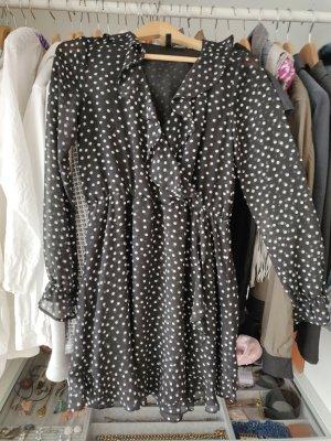 H&M Divided Flounce Dress black-cream polyester