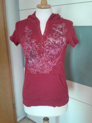 Yessica Top à capuche rouge carmin coton
