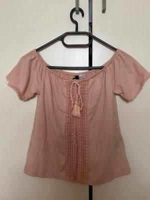 H&M Garden Collection Top basic rosa antico-crema Poliestere