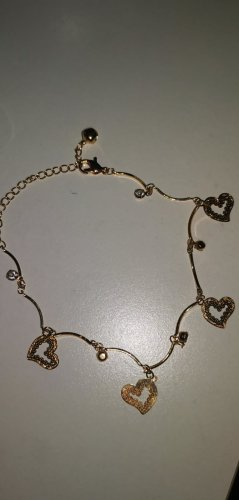 süßes Schmuckset Herz Herzchen Fußkettchen Gold Modeschmuck neu ovp