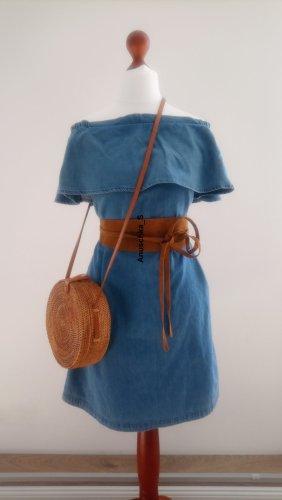 Süßes schulterfreies Jeanskleid blau hellblau mit Volants A-Linie offshoulder Hängerchen 90s