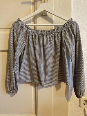 Brandy & Melville Carmen shirt wit-leigrijs