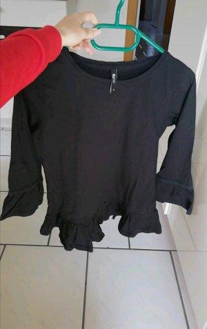 Süßes, schwarzes Shirt Größe S mit süßen Rüschen, 3/4 Arm