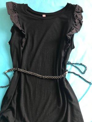 Süsses Schwarzes Shirt mit Rüschen & Schnuckgürtel