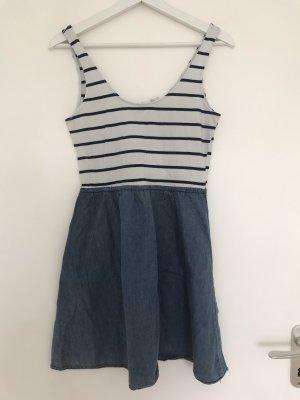 H&M Vestido babydoll blanco-azul