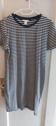 H&M Basic Sukienka dresowa biały-stalowy niebieski