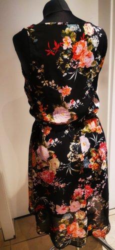 süßes Sommerkleid  floral schwarz Blumen Muster Gr 38  neu