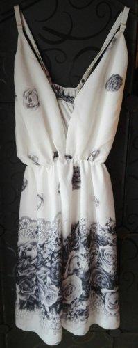 aus Italien Robe à bretelles blanc-noir