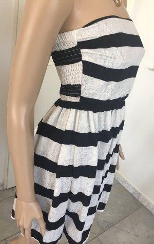 Tally Weijl Vestido bustier negro-blanco tejido mezclado